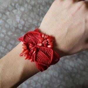 Jewelry - Red boho handmade thread and bead bracelet